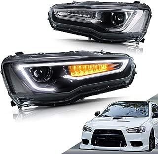 VLAND Dual Beam Headlights for Mitsubishi Lancer EVO X 2010-2018 (Projector Headlight Assembly with LED DRL Bars) YAA-YS-0162C