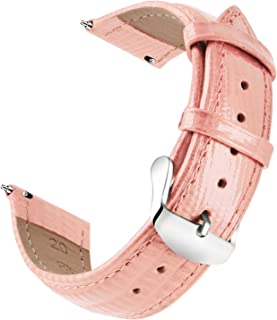 OLLREAR Quick Release Leather Watch Strap Replacement Genuine Leather Watch Band -6 Colors & 6 Sizes