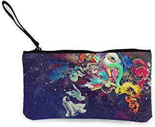 MODREACH Women and Girl Psychedelic Trippy Astronaut Space Canvas Coin Purse Zipper Pouch Wallet for Cash Bank Car Passport Coin