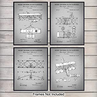 Wright Brothers Aviation Patent Art Prints - Vintage Wall Art Poster Set - Home Decor for Living Room, Office, Man Cave - Great Gift for Pilots, Flight Instructors, Aviators - 8x10 Photo - Unframed
