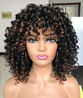 PRETTIEST Afro curly Wigs Black with Warm Brown Highlights Wigs with Bangs for Black Women Natural Looking for Daily Wear ...
