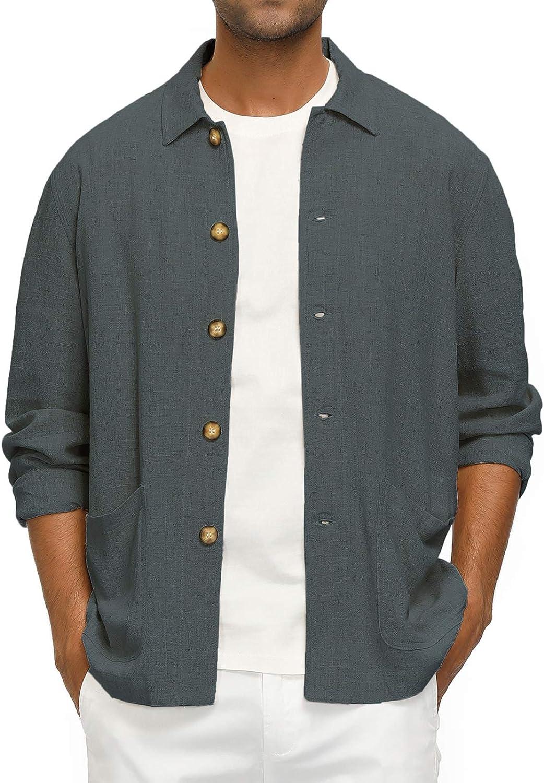 PJ PAUL JONES Men's Casual Linen Jacket Button Down Lightweight Shirt Jacket