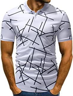 Wintialy Mens Buttons Design Half Cardigans Short Sleeve Patchwork Casual T Shirt