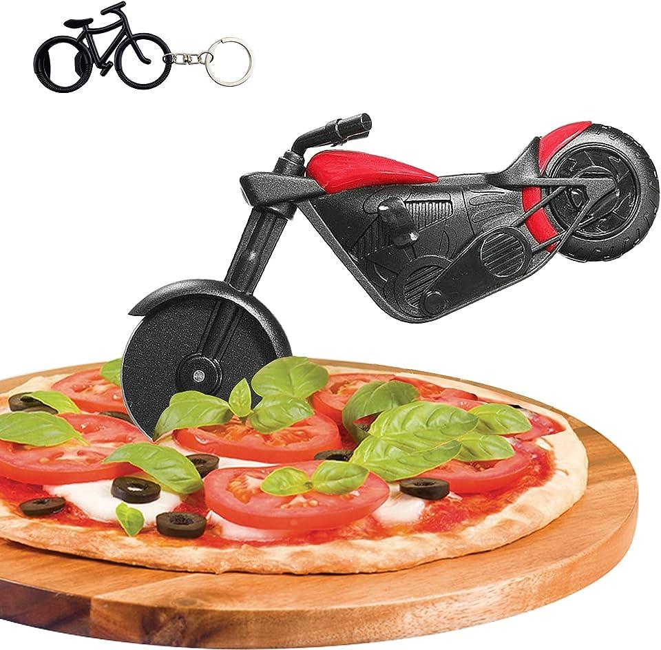 Motorrad Pizzaschneider, Edelstahl Kunststoff Lustiger Pizzaroller Pizzarad, Pizza Cutter mit Scharfem Schneiderad & Ständer für Weihnachten Party Kreativ Geschenke