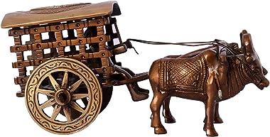 PNF Craft Antique Finish Village Bullock Cart Brass Showpiece