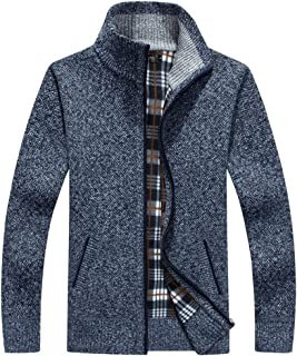 XinDao Men's Casual Slim Full Zip Thick Knitted Cardigan Sweaters with Pockets