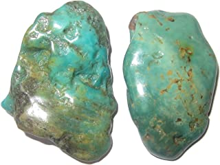 SatinCrystals Turquoise Polished Stone Premium Pair of Crystals Genuine Old Kingman Mine Arizona Made in USA Healing Gems P10 (1.5 Inches)