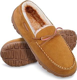 HOMEHOT Mocassin Slippers for men with Comfort Memory Foam Indoor Outdoor and Anti-Skid Beige Size 10