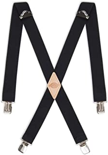 Men's 1 1/2 inch Solid Straight Clip Adjustable X Back Suspender