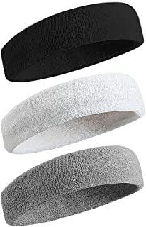 BEACE Sweatbands Sports Headband/Wristband for Men & Women - 3PCS / 6PCS Moisture Wicking Athletic Cotton Terry Cloth Swea...