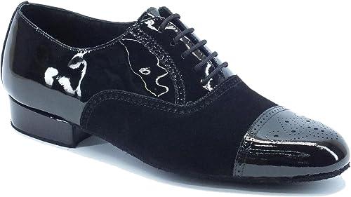 Vitiello Dance chaussures  291B Camoscio noir   Vernice noir Bufalo Tacco 20, Chaussons de danse pour homme Noir noir