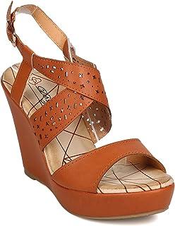 18897eb49b DBDK Women Leatherette Open Toe Perforated Platform Wedge Sandal FA97 - Tan