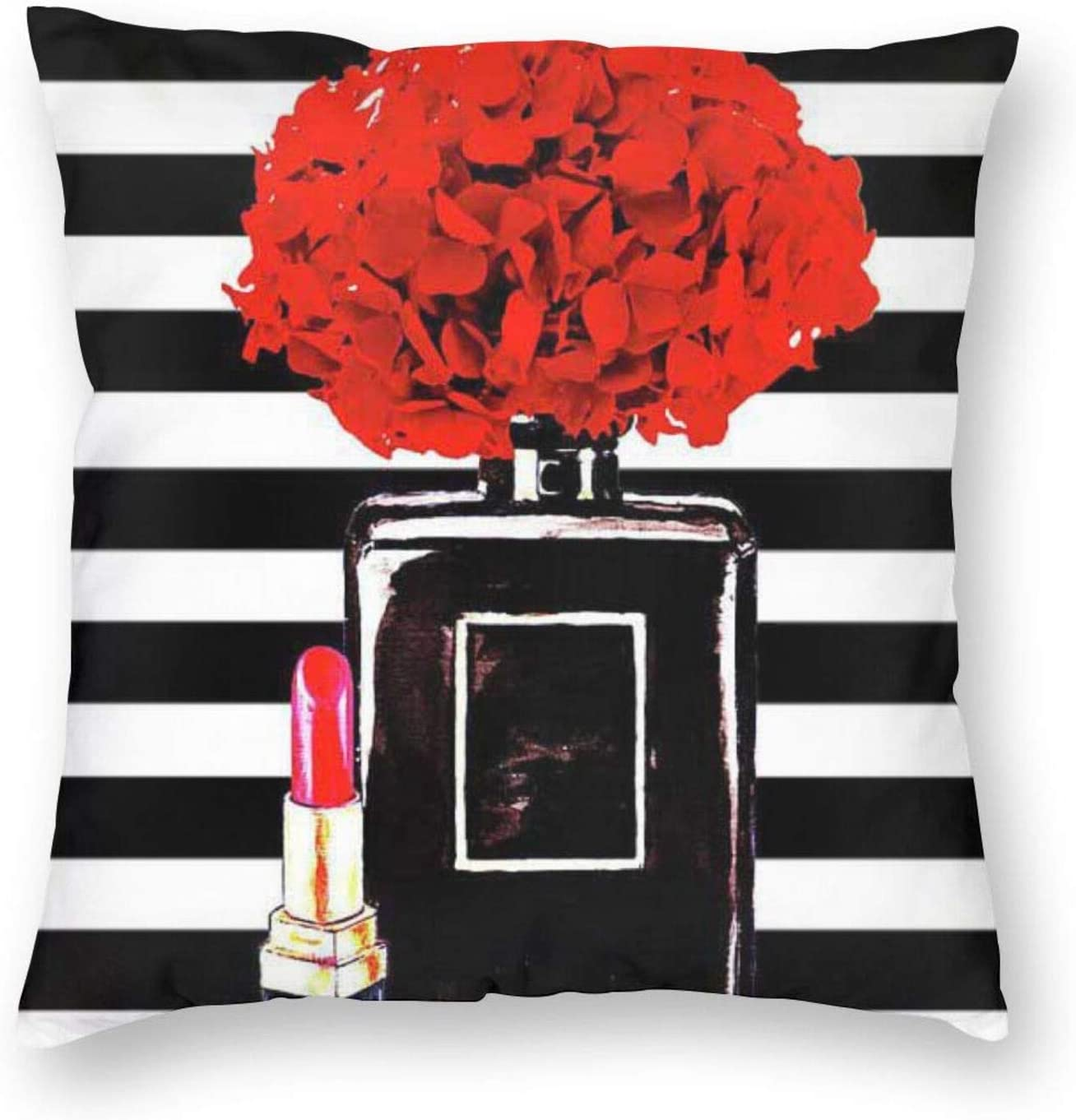 Yaateeh Women Makeup Decorative Throw Pillow Covers Black Perfume Bottle Lipstick Pillows Case Square Cushion Cover Standard Pillowcase for Sofa Couch Bedroom Patio 18x18 Inch