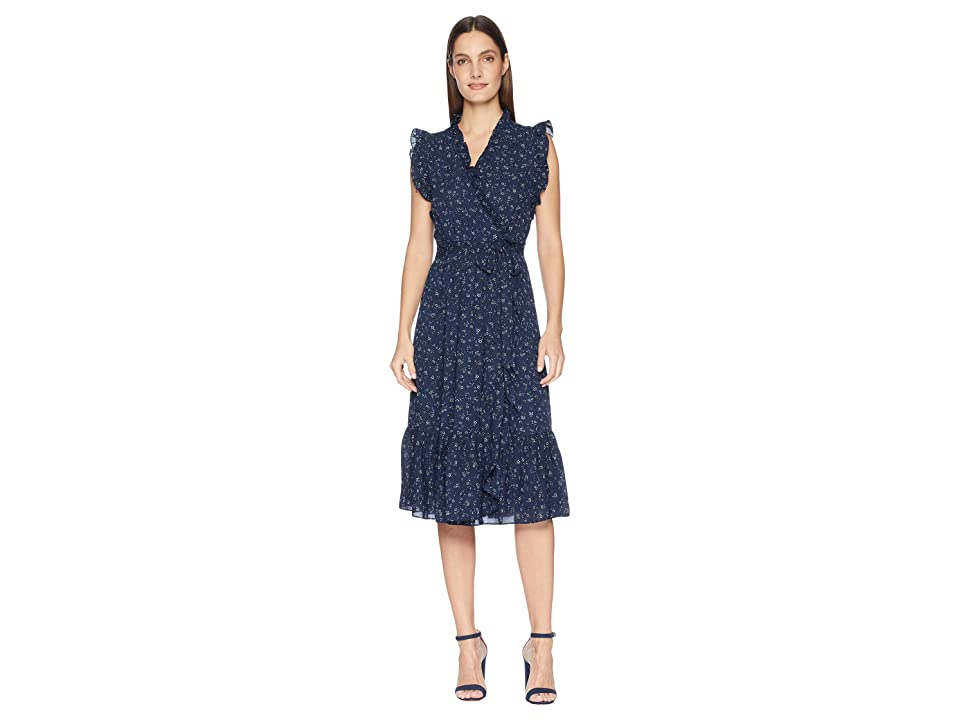 Kate Spade New York Out West Wild Roses Ruffle Wrap Dress (Adriatic Blue) Women