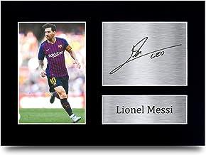 HWC Trading Lionel Messi A4 Sin Marco Regalo De Visualización De Fotos De Impresión De Imagen Impresa Autógrafo Firmado por Barcelona Los Aficionados Al Fútbol