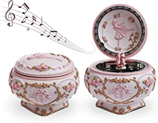 Hand Made Ballerina Music Box, Pink Ballerina Music Jewelry Boxes, Trinket Boxes Hinged, Great Vintage Gifts for Women Girls