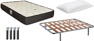 Pack Ahorro Colchón Viscoelástico EKO Confort + Almohada Dalia Velfont + Somier BASIK + Patas Metálicas 135 x 190cm