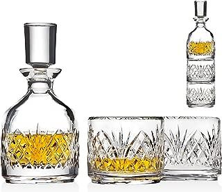 Godinger Stackable Whiskey Decanter and Whisky Glasses Dublin 3 pc set, for Liquor Scotch Bourbon or Wine