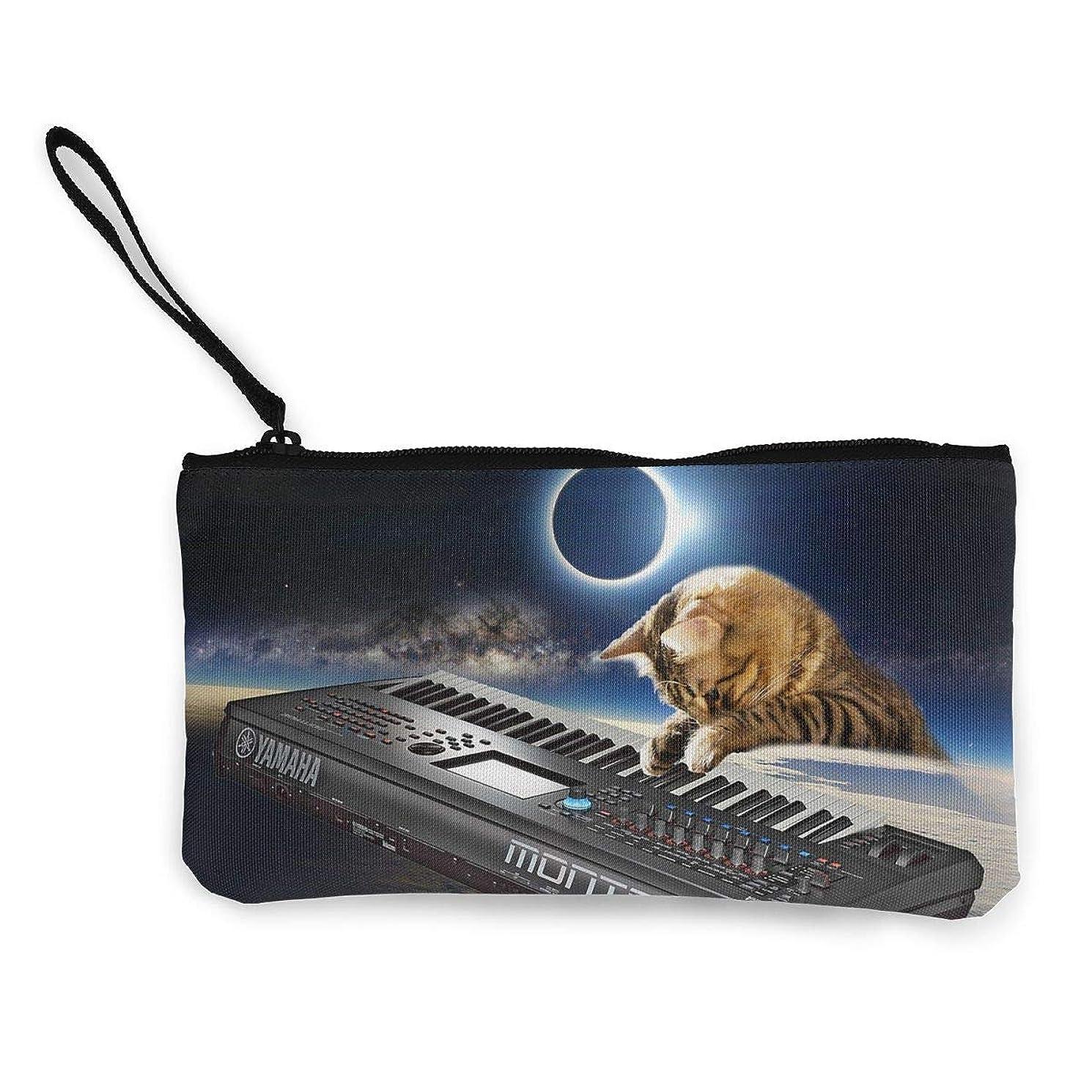 過ち何でもスキムErmiCo レディース 小銭入れ キャンバス財布 3Dプリント DJ猫 宇宙柄 小遣い財布 財布 鍵 小物 充電器 収納 長財布 ファスナー付き 22×12cm