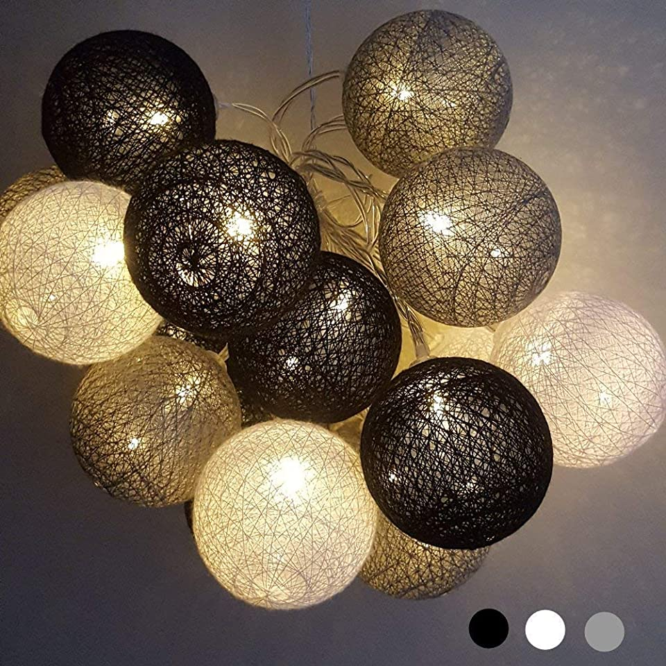 Ciskotu LED-Lichterkette für den Innenbereich, 3,8 m, 20 Stück, Baumwollkugel-Lichterkette, weiß, Weihnachts-Lichterkette, Sternenlichter, Wandleuchte, Hochzeit, Party, Zuhause, Weihnachtsdekoration