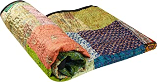 Aheli Indian Tribal Kantha Quilts Bed Blanket Vintage Cotton Bedspread Throw Old Assorted Patches Made Rally