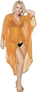 LA LEELA Women`s Open Front Kimono Cardigan Swim Beach Cover Ups Solid Plain