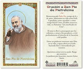 SPANISH HC PADRE PIO LAMINATED PRAYER CARDS - 25/PKG
