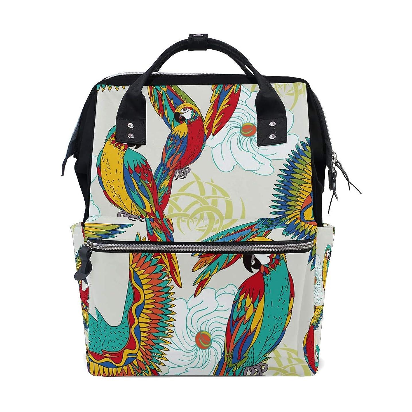 Colorful Parrot Flower School Backpack Large Capacity Mummy Bags Laptop Handbag Casual Travel Rucksack Satchel For Women Men Adult Teen Children
