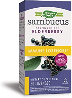 Nature's Way Sambucus Immune Elderberry Lozenges, Herbal Supplements with Echinacea, Zinc, and Vitamin C, Gluten Free, Veg...