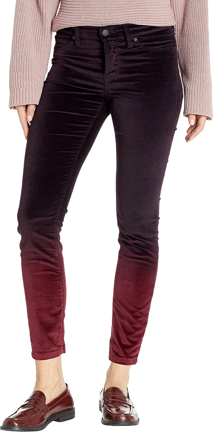 Hudson Womens Nico MidRise Ankle Skinny Jeans in Degrade Burgundy Plum