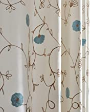 Blue Flower Curtains Embroidered Drapes - Anady Top Elegant Decro Curtains Drapes for Living Room Grommet 84 inch Long