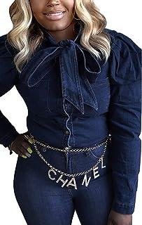 جاكيت جينز للنساء من SeNight بكم طويل كلاسيكي بنمط ضلع بشرابة من الدنيم سترات سائق الشاحنة