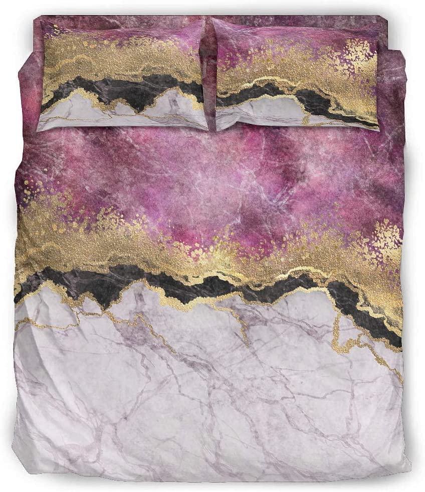 Ranking TOP3 Marble Max 86% OFF Quilt Sets 4 Pieces Ultra Duvet Cover Lightweight Soft Se