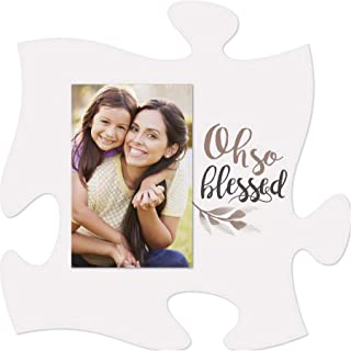 P. Graham Dunn Oh So Blessed Leaf White 6 x 6 Wood Mini Puzzle Piece Wall Photo Frame