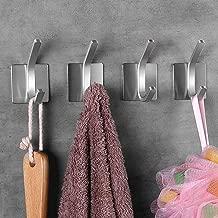 خطاطيف لاصقة ذاتية اللصق من NEXCURIO- خطافات للتعليق على الحائط شديدة التحمل لحقيبة معطف قضيب لاصقة على الحائط - منظم مكتب مطبخ الحمام، من الفولاذ المقاوم للصدأ المصقول (4 حزم)