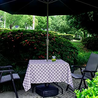 Hipinger Heavyweight Wrinkle-Free Stain Resistant Waterproof Outdoor Tablecloth with Umbrella Hole and Zipper,60 Inch Roun...