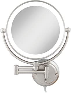 Zadro Extra Large Premium Glamour Dual-Sided 5X/1X Magnification Wall Mount 12-inch Dimmable Bathroom Makeup Mirror, Satin...