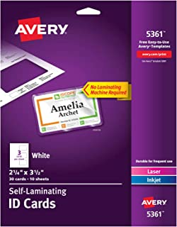 Avery Self Laminating Cards, Printable, 2-1/4