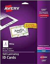 Avery Self Laminating Cards, Printable, 2-1/4