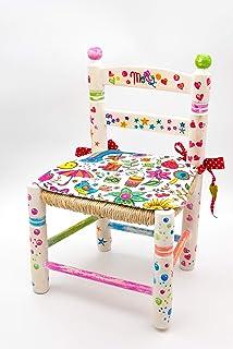 Sedia per bambini dipinta a mano. Sedia per bambini personalizzata. Mobili per bambini in legno e tifa. Regalo perfetto pe...