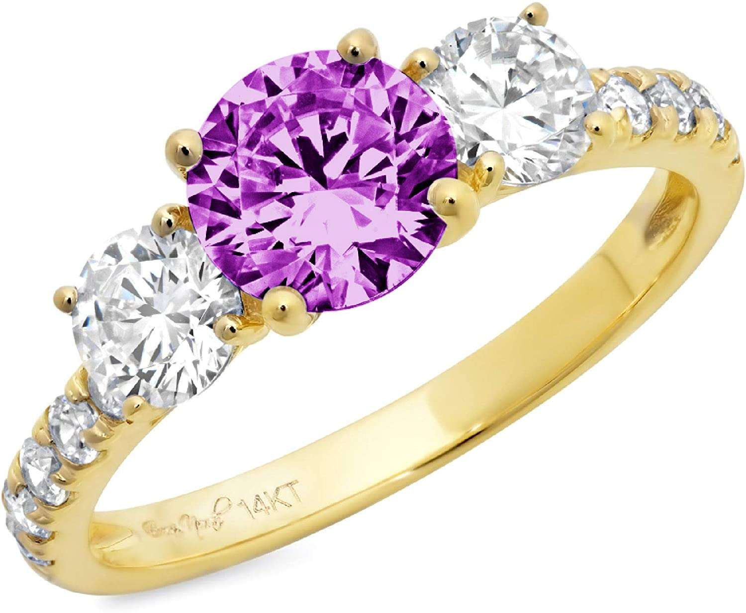 1.95 ct Brilliant Round Cut Solitaire 3 stone With Accent Flawless Ideal VVS1 Simulated Alexandrite Ideal Engagement Promise Statement Anniversary Bridal Wedding Designer Ring 14k Yellow Gold