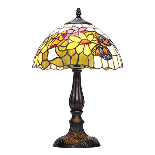 35ddb5559 CO-Z Tiffany Style Table Lamps Art Glass Shade, Floral and Butterfly Type  Desk
