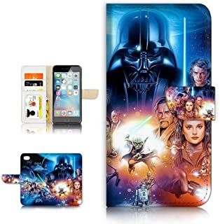 (for iPhone 5 5S / iPhone SE) Flip Wallet Style Case Cover, Shock Protection Design with Screen Protector - B31183 Starwars Darth Vader