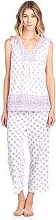 Women's Lace Sleeveless Top and Capri Bottom Sleepwear Pajama Set