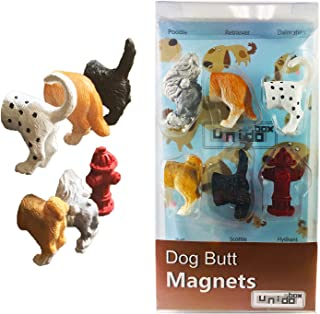 Dog Butt Magnets, Set of 6 - Funny Refrigerator Photo Magnets, Home Office Desk Decor Organizers, Animal Pet Lover Gifts