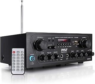 Pyle - Amplificador de Sonido para el hogar, con Canal Bluetooth Mejorado con Entrada Auxiliar, USB, 2 entradas de micrófo...