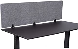 ReFocus Raw Clamp-On Acoustic Desk Divider – Reduce Noise and Visual Distractions with This Lightweight Desk Mounted Privacy Panel (Castle Gray, 60