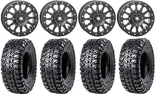 "Bundle - 9 Items: STI HD A1 Beadlock 15"" Wheels Black 33"" Chicane RX Tires [4x156 Bolt Pattern 3/8x24 Lug Kit]"