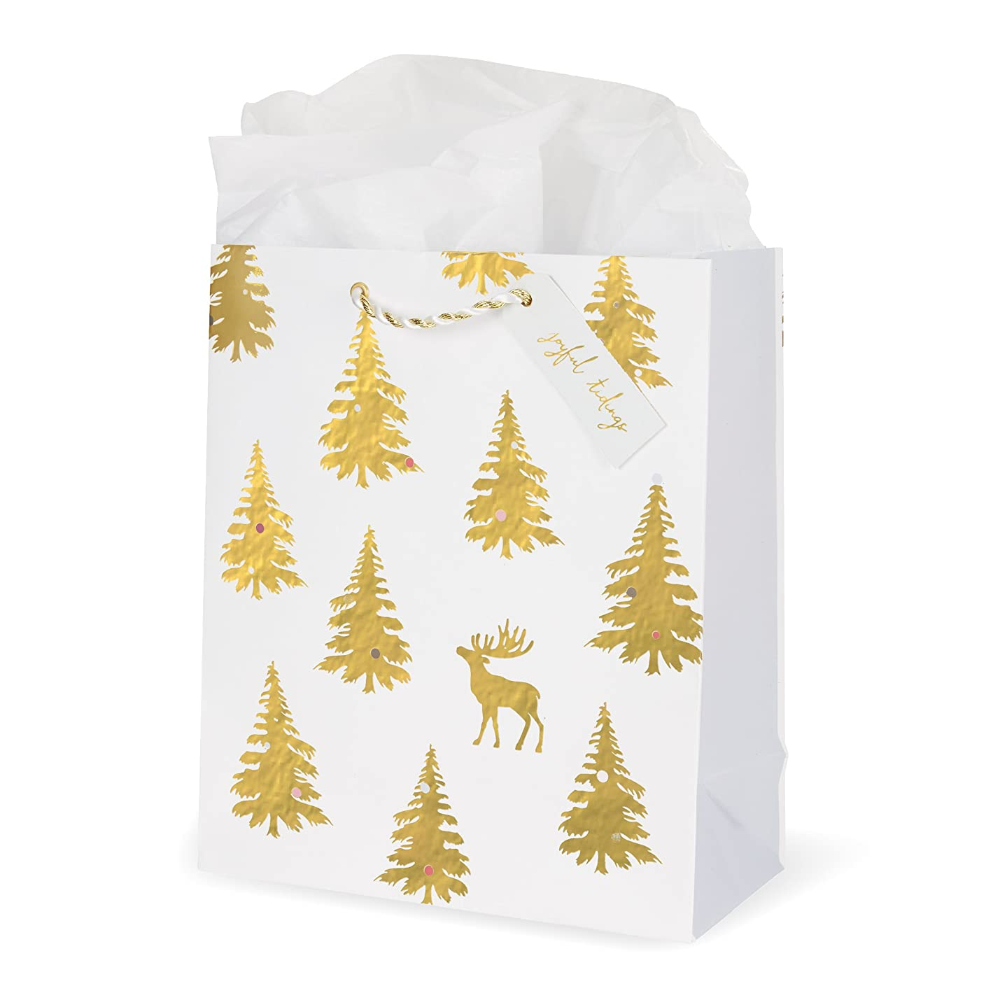 C.R. Gibson Large Christmas Reindeer and Christmas Tree Gold Foil Gift Bag 8.4'' W x 9.75'' H x 4'' D