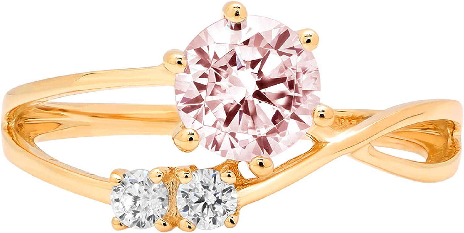 0.79ct Round Cut 3 stone love Solitaire Pink Ideal VVS1 Simulated Diamond CZ Engagement Promise Statement Anniversary Bridal Wedding with accent Ring Solid 14k Yellow Gold